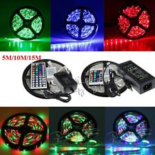 5M/10M/15M 3528 5050 RGB SMD Flexibl Light LED Strip 12V Adapter 24/44Keys IR