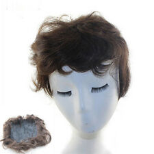 Female Healthy Top Piece Toupee Hand Tied 100% Real Human Hair Hairpiece Black