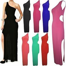 Womens Ladies Side Cut Out Front Slit One Shoulder Strap Bodycon Long maxi Dress