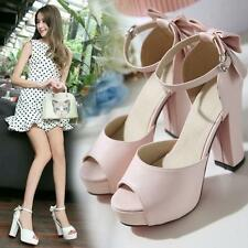 2016 Womens Open Toe Bow Pumps High Block Heels Platform Lolita Mary Janes Shoes