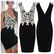 Graceful Women Sleeveless Floral Lace Slim Bodycon Cocktail Party Evening Dress