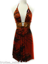 NWT SKY Brand Komiti Peacock Feather Print Leather  Belt Sexy Mini Red Dress