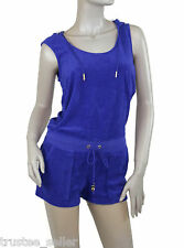 NWT Juicy Couture Micro Terry  Hoodie Sleeveless Jumpsuit Rompers Shorts Blue