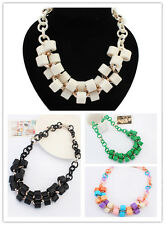 Fashion Lady Jewelry Cylinder Resin Pendant Link Chain Statement Bib Necklace