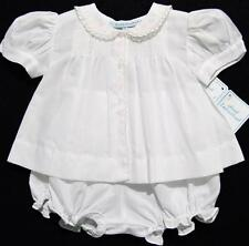HAND~EMBROIDERED NEWBORN GIRLS WHITE BATISTE DIAPER SET W/LACE & EMBROIDERY~NWTS