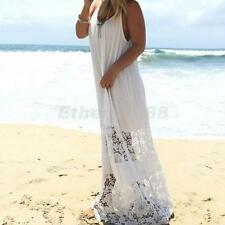 Women Casual Loose Backless Lace Sexy Strap Long Maxi Dress White Beach Sundress