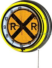"Railroad Crossing 18"" Yellow Double Neon Wall Clock Vintage Style Retro Man Cave"