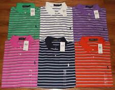 NEW NWT Mens Polo Ralph Lauren Medium Fit Interlock Polo Shirt Pony Logo Striped