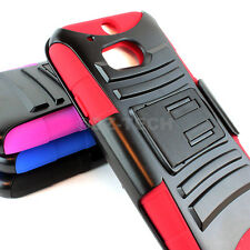For HTC One M8 / One 2 (2014) Rugged Hybrid Hard Case Cover Belt Clip Holster