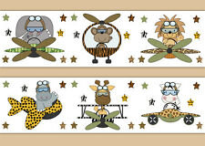 Safari Jungle Animal Nursery Wallpaper Border Wall Art Decals Boy Airplane