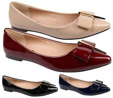 WOMENS FLAT BALLET PUMPS FAUX PATENT LEATHER BOW SLIP ON WALKING DOLLY SHOES 3-8