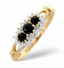 9K Gold Diamond & 0.34ct Sapphire Trilogy Ring  Size K - S Made in London