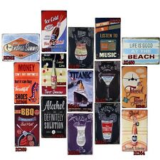 Vintage Tin Signs Drink And Meat Decor Home Pub Bar Wall Retro Metal Cafe Art