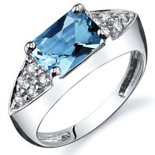 Sleek 1.75 cts Swiss Blue Topaz CZ Ring Sterling Silver Sizes 5 to 9