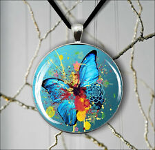 BUTTERFLY COLORFUL ABSTRACT FASHION PENDANT NECKLACE -dcv7Z