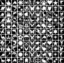 11 X Refill Glitter Tattoo Stencils Face painting & Airbrush Top Up Your Kit