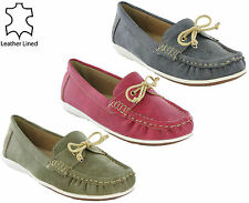 Boulevard Moccasin Boat Loafer Summer Holiday Soft Leather Lined Women's Shoe