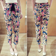 Womens Casual Empire Wasit Slim Harem Slacks Floral Cotton Blend Pants Trousers
