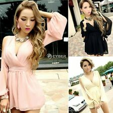 Womens Sexy Deep V Neck Chiffon Playsuit Jumpsuit High Waist Pants Dress Skirts