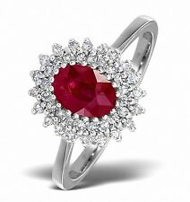 9k White Gold 0.30ctw Diamond & Ruby Cluster Ring Sizes F - Z Made in London