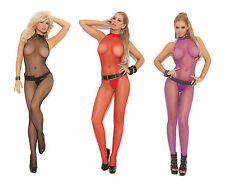 Elegant Moments Seamless Fishnet High Halter Bodystocking w/Open Crotch