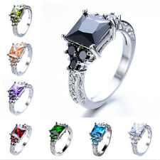 Size 6-11 Princess Cut Colorful Sapphire Gem Wedding Ring 10KT White Gold Filled