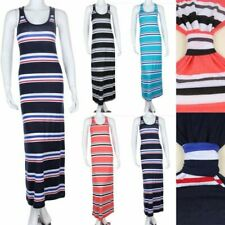 Striped Tank Maxi Dress with Band Tied Back Full Length Long Round Neck S M L