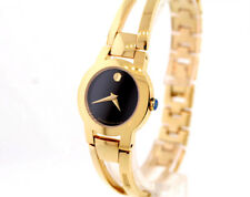 Ladies Movado 0604758 AMOROSA Gold-Tone Stainless Steel Black Dial Watch