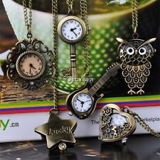 Vintage Unisex Cute Bronze Steampunk Quartz Necklace Pendant Chain Pocket Watch