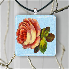 FLOWER VINTAGE ROSE HAND PAINTING ART DESIGN  PENDANTS NECKLACE M  L  XL -bhn8Z