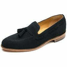 Loake Lincoln Made in England Mod Suede Tassled Loafer Shoe Navy Blue