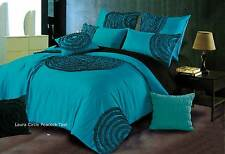 Queen / King  Circle Quilt Cover / Duvet cover set in Peacock Teal blue