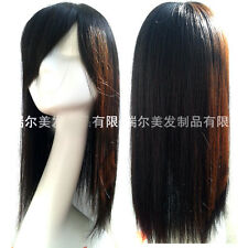 85g 18'' Long Silk Human Hair Topper Top Piece Women Hairpiece Toupee Half Wig