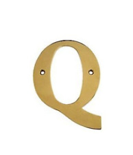 Letter Q Solid Brass 4 inch high in 4 Finishes FPL Door Locks & Hardware