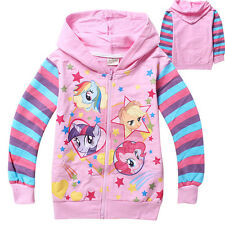 New Kids Girls My Little Pony Zipper Striped Sweatershirts Hoodies Top Coat 2-6Y