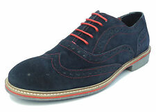 Mens Suede Brogues Shoes Roamers Navy Lace Up Real Leather Blue Red Size 6-12