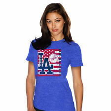 L.A. Dodgers Majestic Threads Women's Stars & Stripes Flag T-Shirt - Royal - MLB