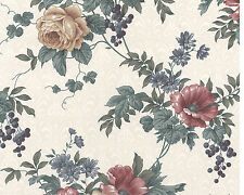 Floral Traditional Rose Flowers Ivory Cream Lg Double Rolls Wallpaper Wall Cover