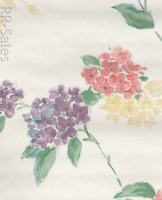 Floral Watercolor Blossom Pink Purple Green Pastel Flowers White Rolls Wallpaper