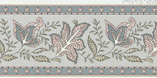 French Country Leaves Jacobean Leaf Blue Pink Tan Vintage Wall Border Wallpaper