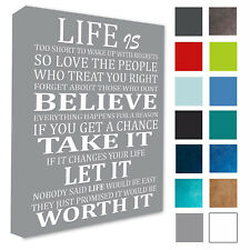 WALL PICTURE LIFE IS TOO SHORT.. QUOTE/WALL ART WALL CANVAS/POSTER A3/A4