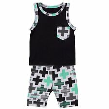 New 2pcs Kid Bodysuit Baby Toddler Child Boys Vest + Shorts Set Summer Clothes