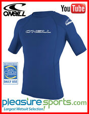 O'Neill Mens Skins Short Sleeve Rashguard 50+ UV Protection Rash Guard - Blue