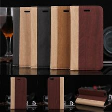 Luxury Wood Grain PU Leather Flip Card Wallet Case Cover For Apple iPhone 6/6S