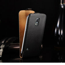 Genuine Real Leather Vertial Flip Case Cover Pouch For Samsung Galaxy S5 Mini