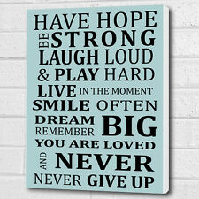 Inspirational Wall Picture Decor Plaque Pale Blue Canvas Print or Poster A3/A4