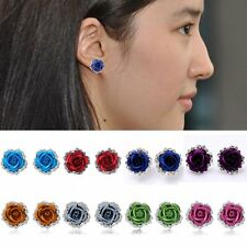 13 Colors Women Lady Rose Flower Crystal Rhinestone Pierced Ear Stud Earrings