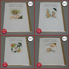 New Quality Embroidered Golden Wedding Card Handmade in UK Ekard