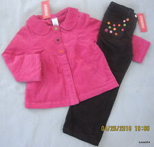 Gymboree All About Buttons Top Coat & Pants Flower Fuchsia Pink Plum  3-4 NWT