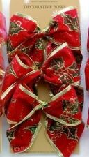 Set of 6 Red & Gold Christmas Tree Decoration Bows Various Designs